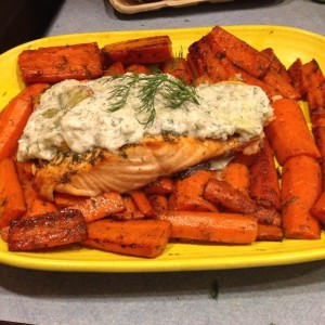 salmon with dairy-free tzatziki sauce & dill carrots